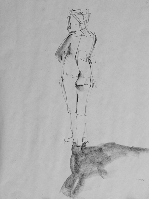 figure drawing, charcoal on newsprint