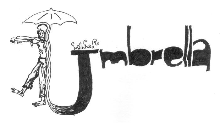 a zombie worked into the word 'umbrella'