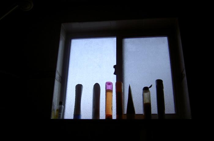 backlit shampoo bottles in a window