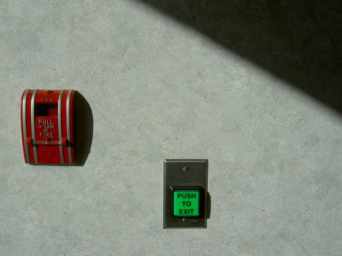 Green button, red lever, on a sunny wall