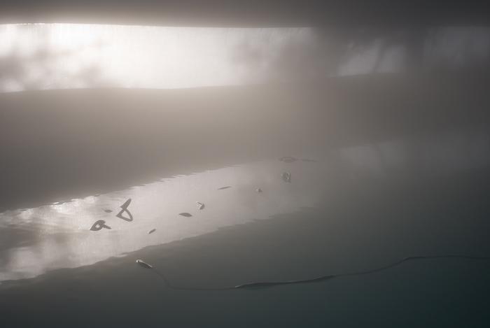 inside a foggy pool bubble