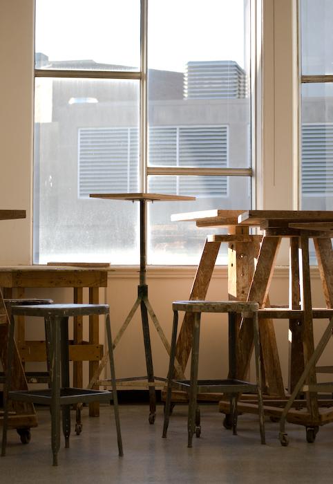 sculpture studio windows with late winter sun