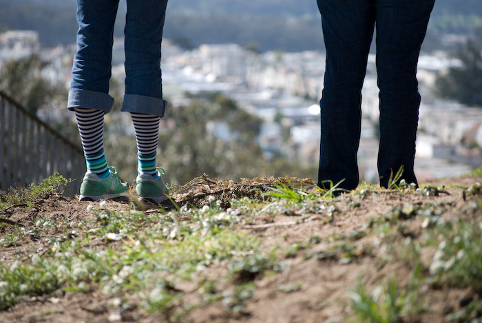 stipey socks on a hilltop