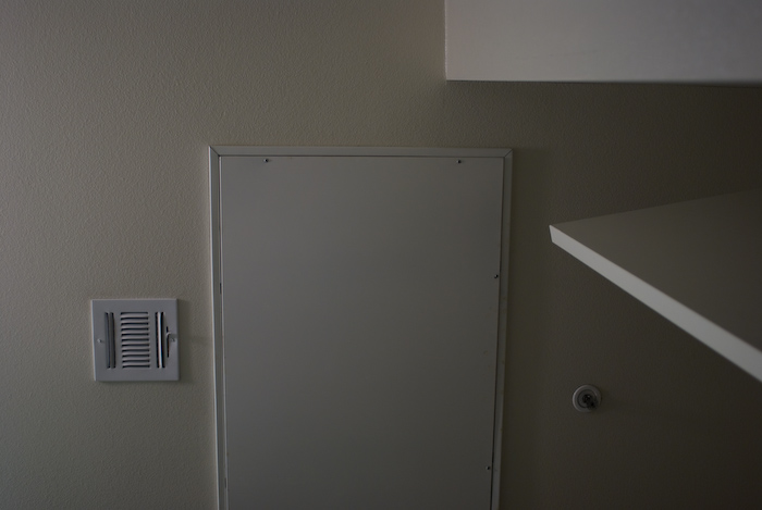 panels, doors, and walls at a bathroom ceiling