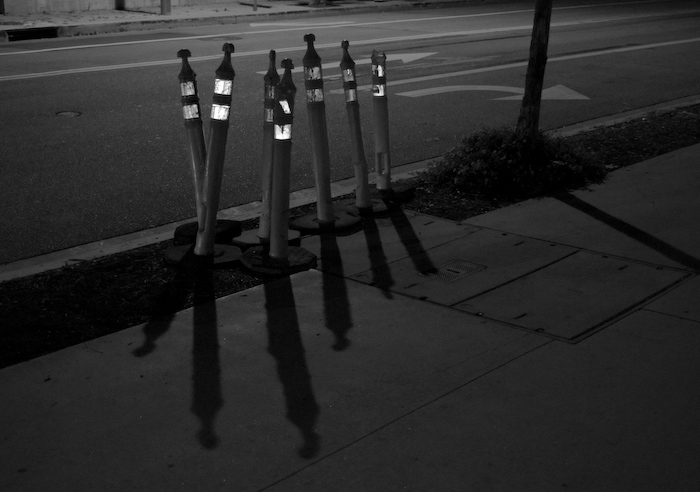 thin construction markers with reflectors and shadows