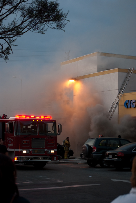 store front with smoke