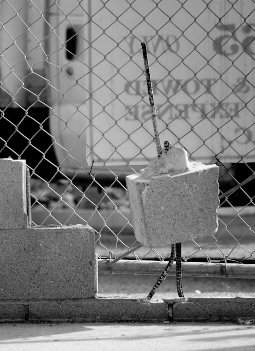 cinder block on bent rebar