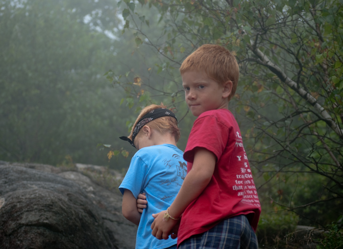 two young boys on hiking trail