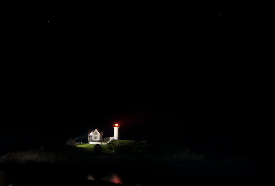 Cape Neddick Light at night with stars