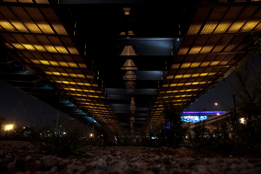 bridge underside with lights