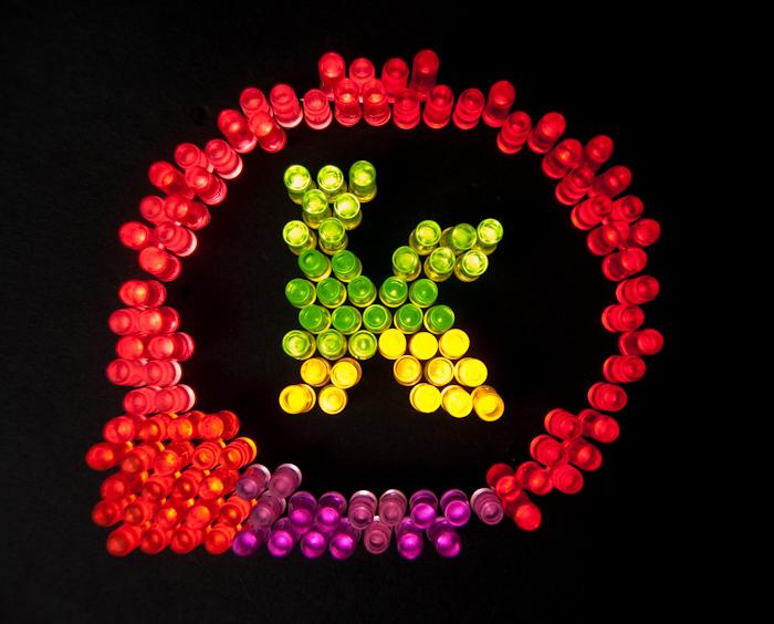 katana logo rendered with lite brite