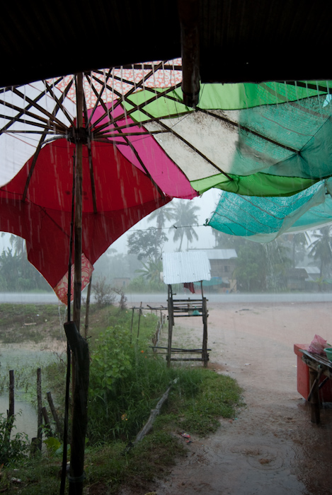 umbrella and stand in rainstorm