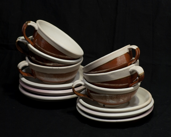 cup and saucer set, stacked