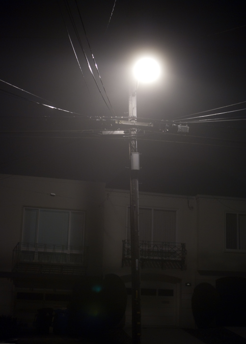 light pole in fog