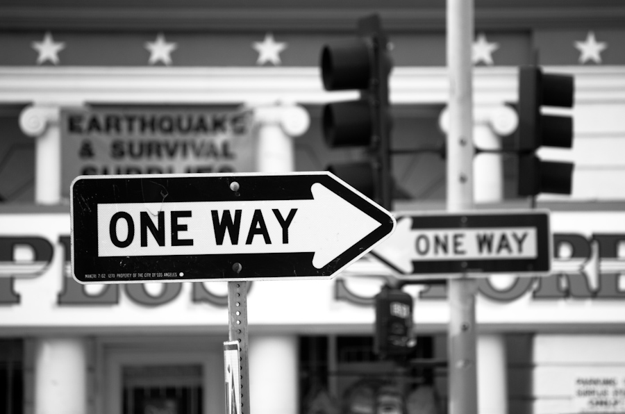 one-way and other signs