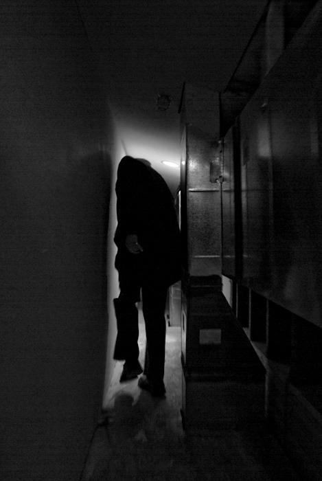 man in passageway