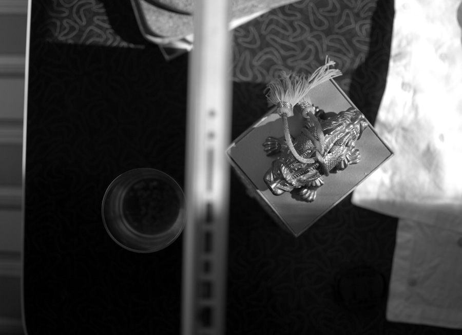 tea-box figure on table