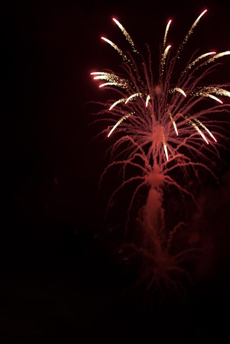 fireworks and smoke trails