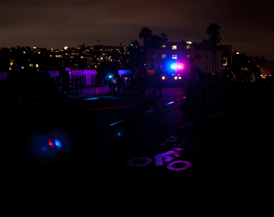 bike symbol with reflected police lights