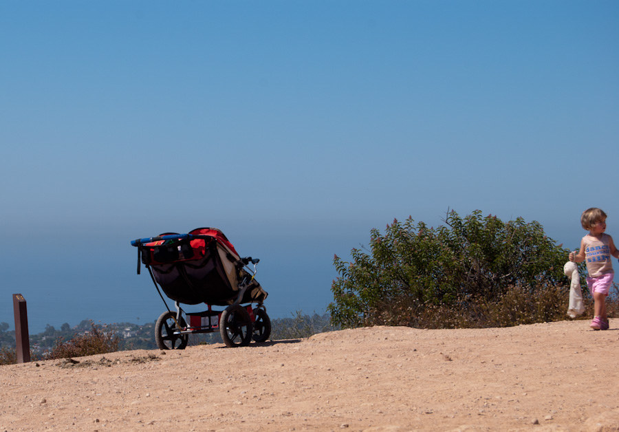 stroller and girl at overlook