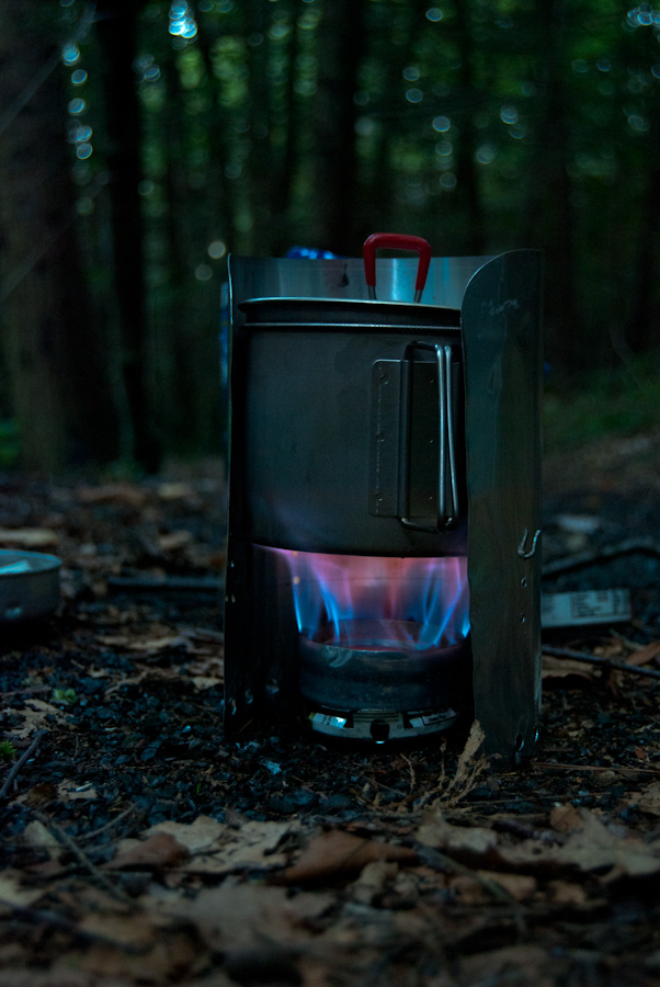 Penny Stove with pot and windscreen