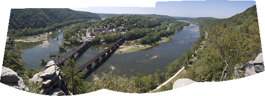 view of Harpers Ferry from Maryland Heights