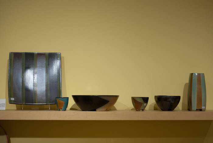 angular glazing on pottery by David Crane