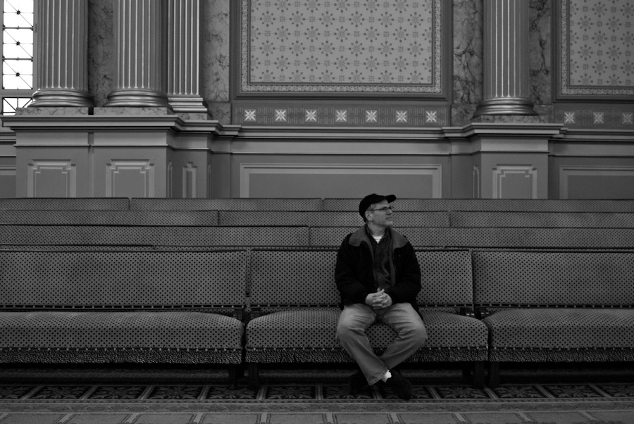 man on spotted benches