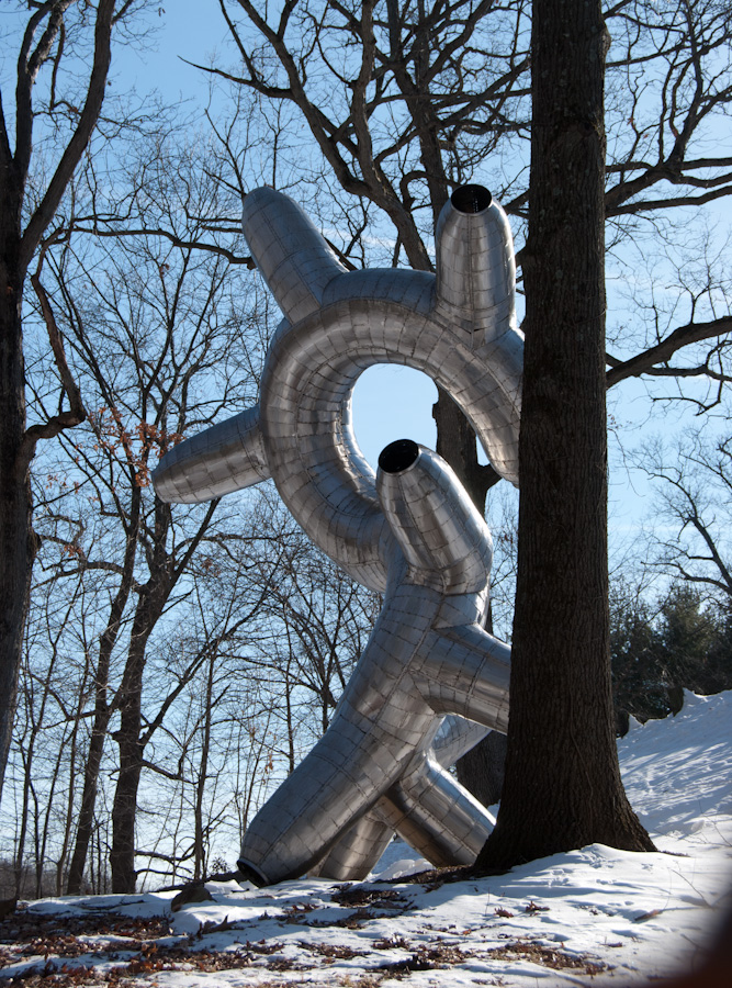 silver tube sculpture behind tree
