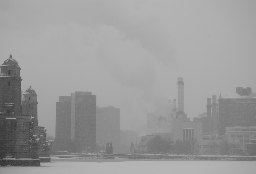 buildings in snow, with steam