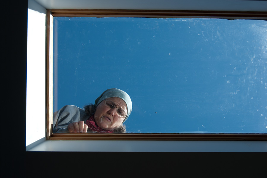 Mary cleaning skylight