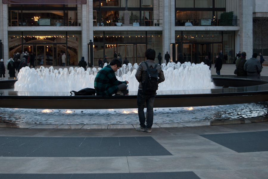 men by fountain