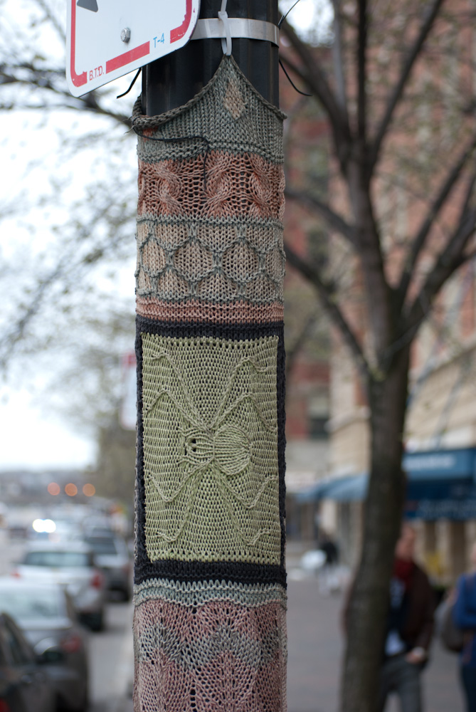 knitting on pole with top edge