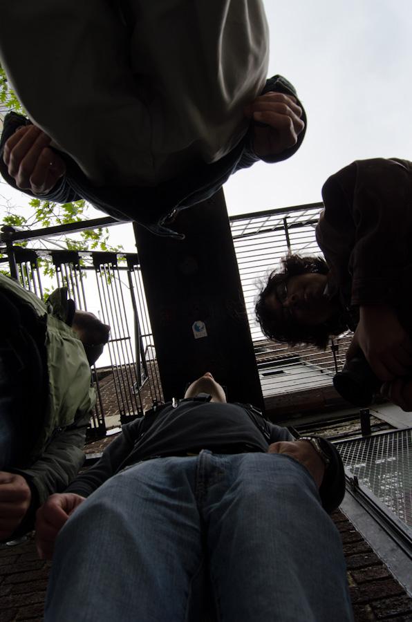 group under fire escape