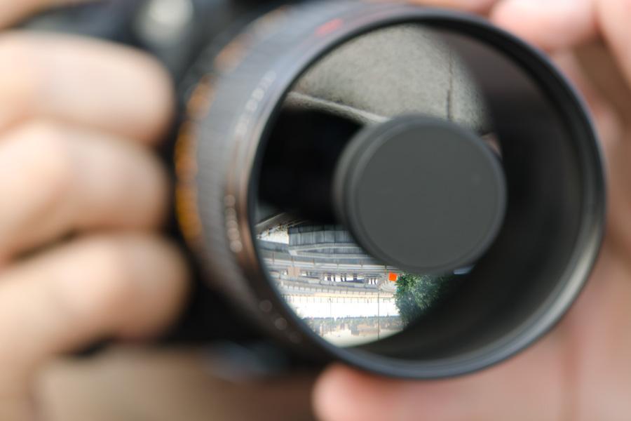 mirror lens: rear reflection