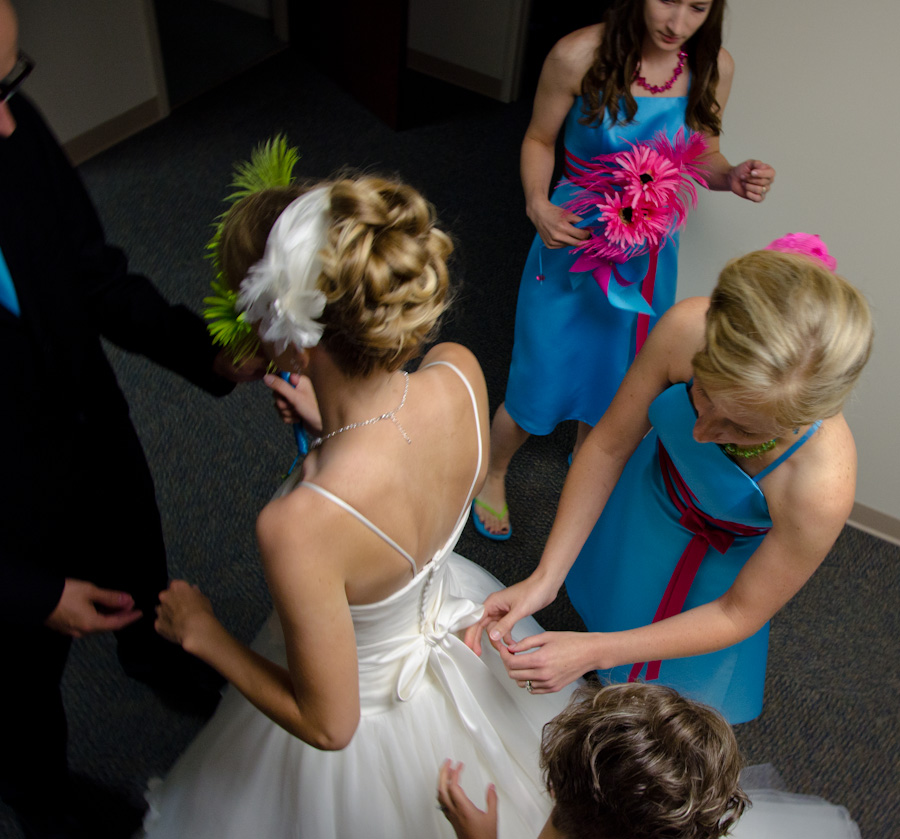adjusting dress