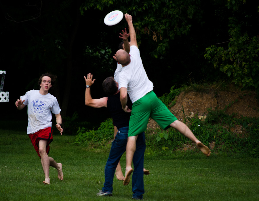 jumping for frisbee