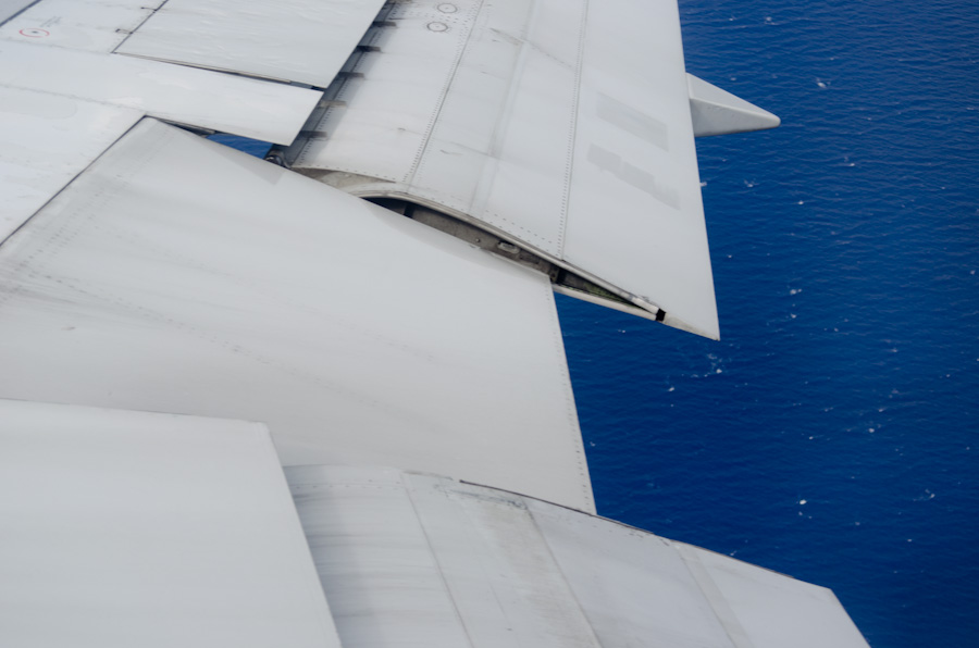 airplane wing and water