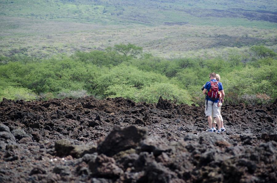 couple on lava field
