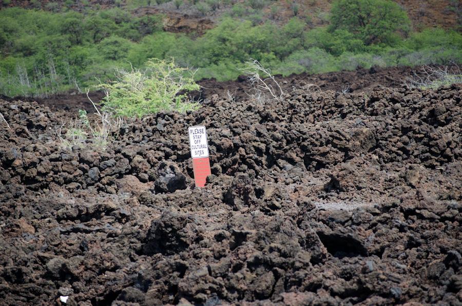 sign in lava field