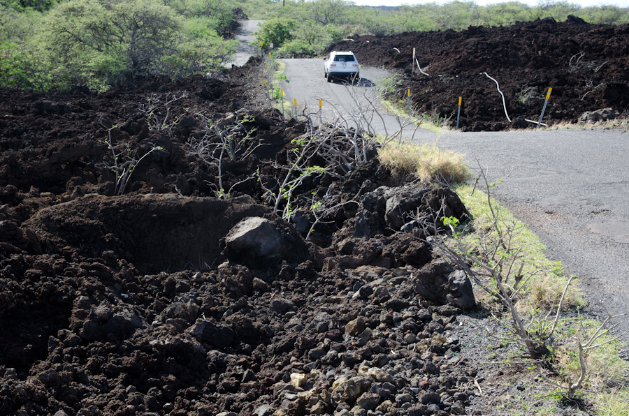 road through lava field