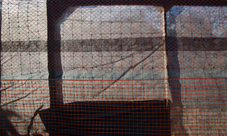pastic barriers at construction site