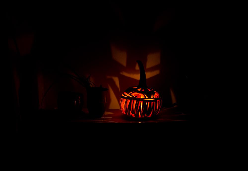 jack-o-lantern, lit, far