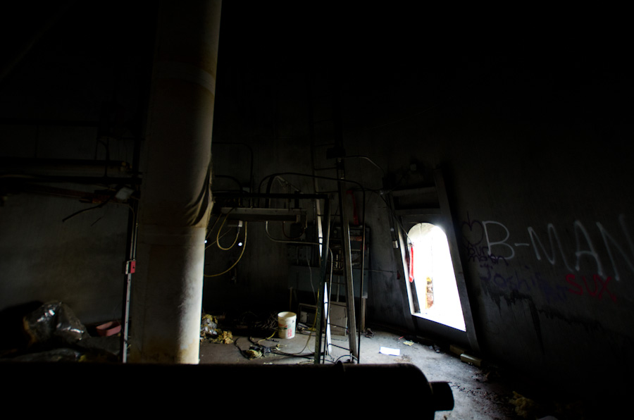 abandoned water tower, interior