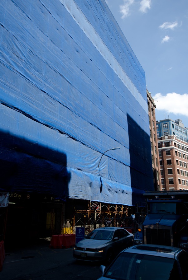blue construction wall