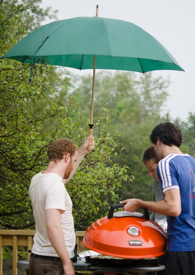 umbrella and grill