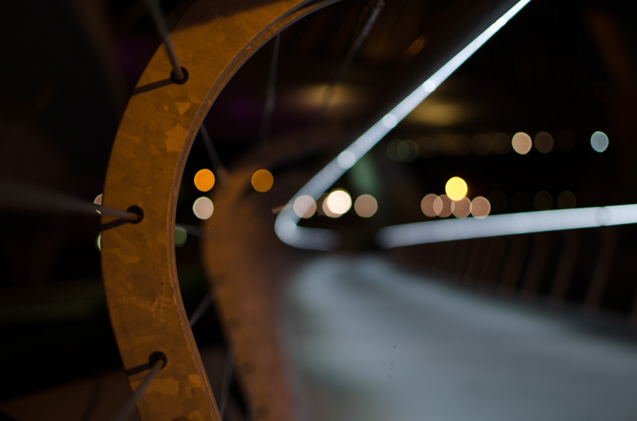 rail and defocused lights