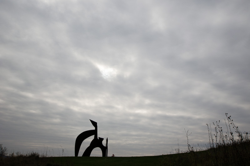 silhouetted sculpture and grasses