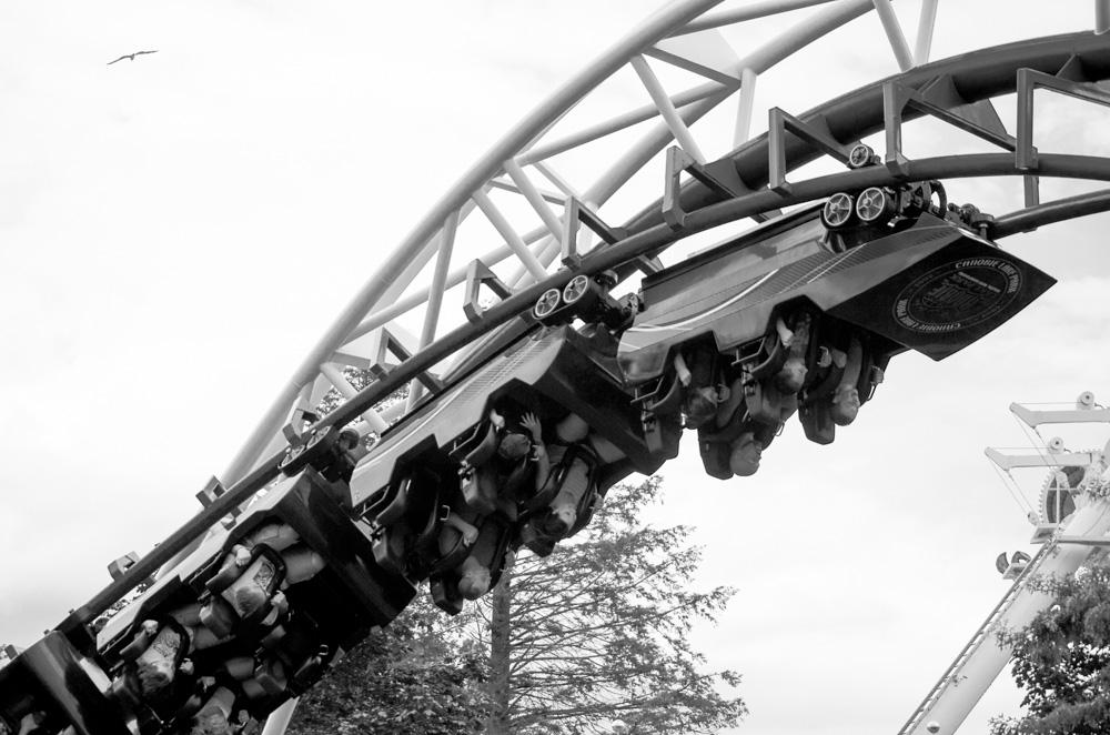 roller coaster around corkscrew