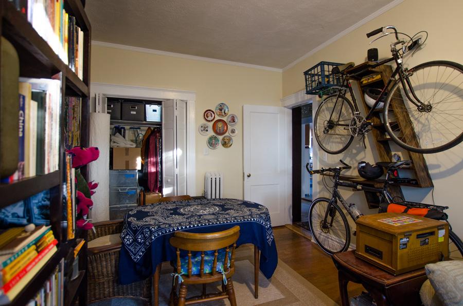 bike shelves in room